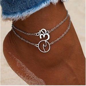 Jewelry - Layered Wave OM Chakra Ankle Bracelet Boho Anklet